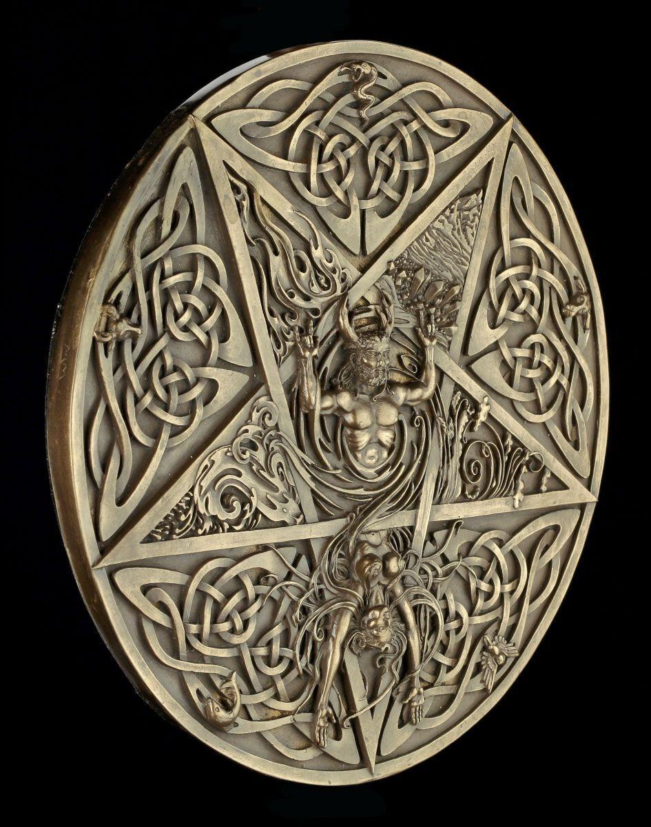 Wandrelief - Gehörnte Gott und Elementar Göttin - Wicca Deko Figur Cernunnos