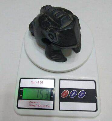 """Vintage Hand Carved Frog Dark Black Wooden Wood Statue Decor Figurine Figure 4"""" 5"""