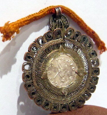 ROMAN STYLE SILVER ANTONINIANUS SET IN OLD VICTORIAN 1800s.GOLD PLATED MEDALLION 5