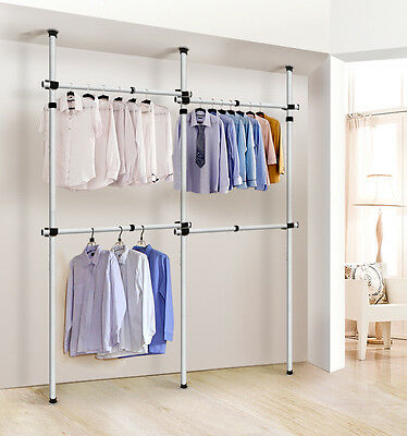 adjustable clothes racks 2 tier steel pipe garment closet free standing wardrobe. Black Bedroom Furniture Sets. Home Design Ideas