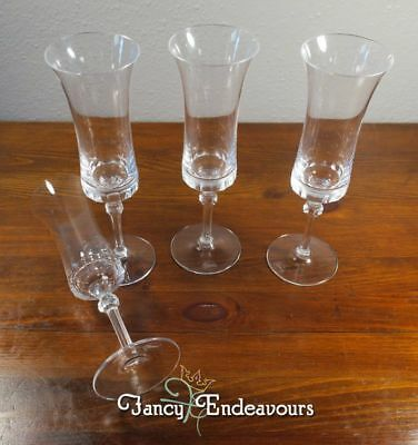 FOUR MOSER BOHEMIAN Crystal Napoleon Champagne Glass Flutes Stems