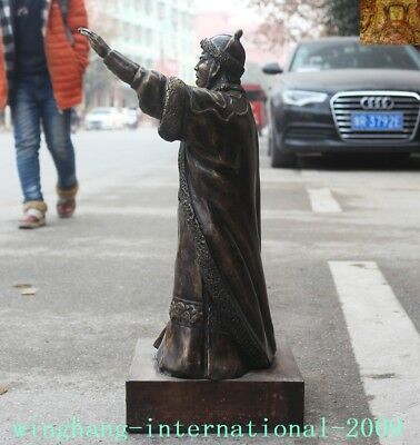 """Old Chinese Bronze copper Mongolia King Genghis Khan Jenghis Khan """"成吉思汗""""Statue 10"""