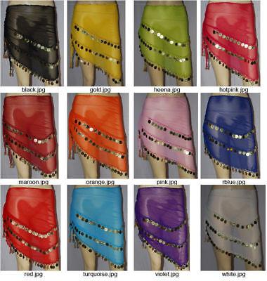 Hip scarves  Belly Dance Belts Croachet Coins DANCE EHS - 12 mix colors scarves