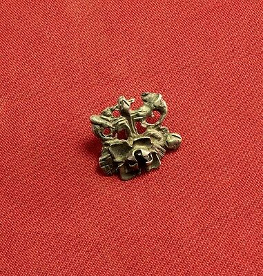 Nice Medieval Silver Mantle Buckle, 14. Century, With Stone 2
