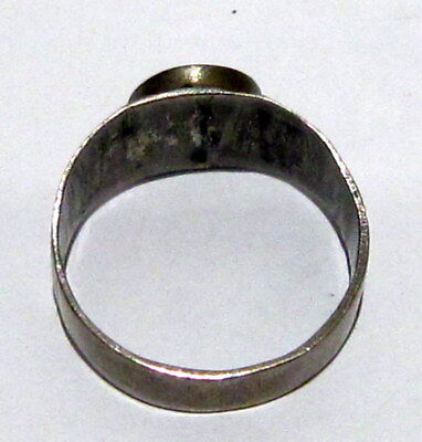 Fantastic Post Medieval Silver Ring With Engraving On The Top # 699 6