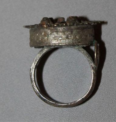 Antique Greek Folk Hand Made Medieval Bronze Ring 4