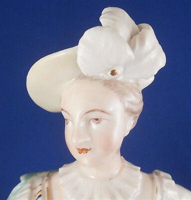 Antique 18thC Derby Porcelain Figural Lady Candlestick Porzellan Kerzenhalter 2