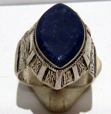 Post Medieval Silver Ring With Nice Engraving And Lapis Lazuli On The Top # 465 2