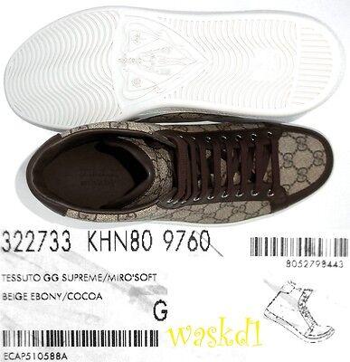 2ccda708182 ... GUCCI Mens 10G brown Supreme HYSTERIA Logo BROOKLYN High Top Sneakers  NIB Authen 5