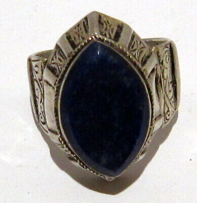 Post Medieval Silver Ring With Nice Engraving And Lapis Lazuli On The Top # 465 11