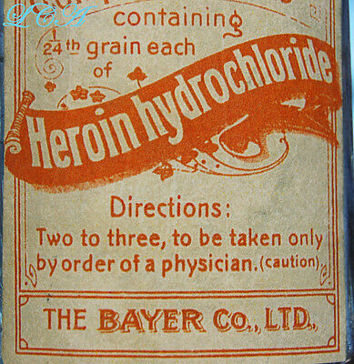 Antique BAYER HEROIN TABLETS bottle 1st style used hand Blown In Mold BIM 1800's 9