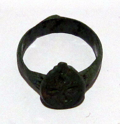 Beautiful Post-Medieval Bronze Ring With Engraving Cross On The Top # 6C 7