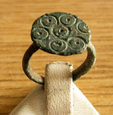 Beautiful Post-Medieval Bronze Ring With Engraving On The Top # 494 2