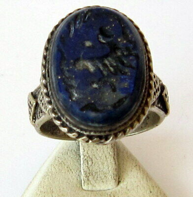 Antique Amazing Ottoman Silver Lapis Lazuli Intaglio Gem Personal Seal Ring # 31 2