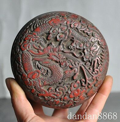 """4"""" Old China Chinese Lacquerware Carved Dragon Phoenix Lucky Statue Box Boxes 9"""