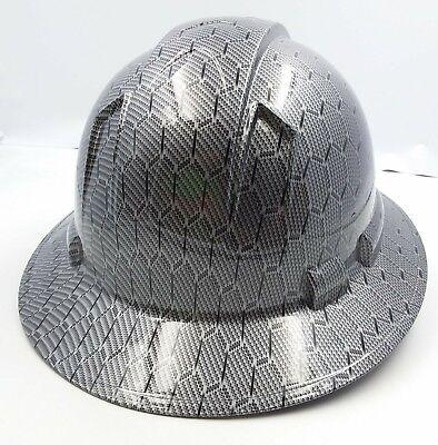 Full Brim Hard Hat Custom Hydro Dipped Black Hex Metal Carbon Fiber
