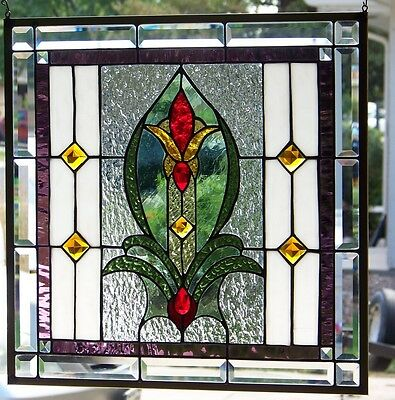 """Stained Glass Window Hanging  21""""  square 3"""