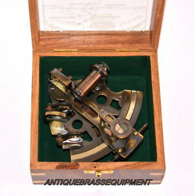 Marine Collectible Brass Working Vintage German Nautical Sextant With Wooden Box 3