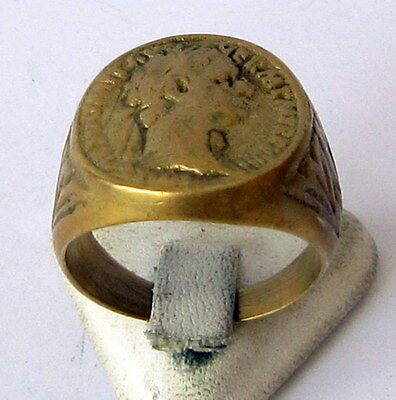 Imposing Roman Style Antique Bronze Ring W/ Portrait Of Emperor Vespasianus 2