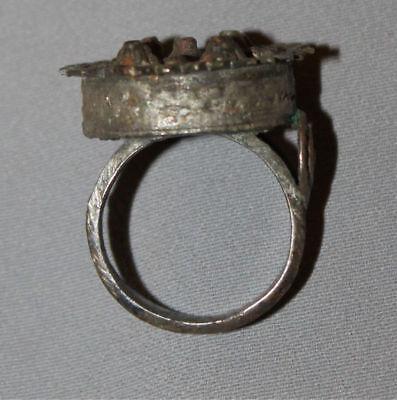 Antique Greek Folk Hand Made Medieval Bronze Ring 5