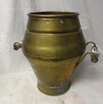 Antique Large Brass Umbrella Coal Log Bin Scuttle Bucket Fireplace Storage