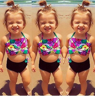 AU Toddler Kid Girl Bikini Suit Floral Swimsuit Swimwear Bathing Swimmer Clothes