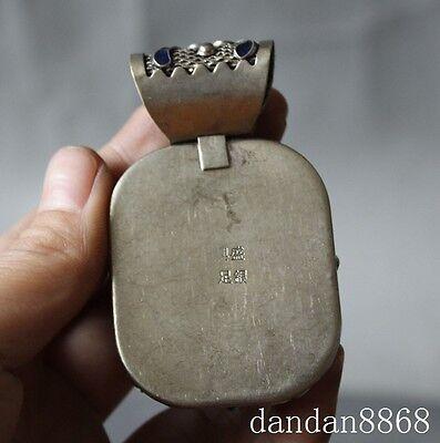 chinese tibet silver cloisonne enamel Mosaic Zircon The sapphire amulet pendant 5