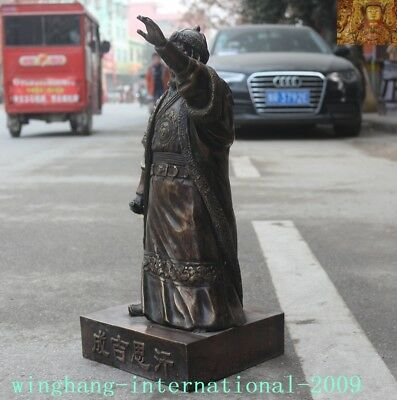 """Old Chinese Bronze copper Mongolia King Genghis Khan Jenghis Khan """"成吉思汗""""Statue 9"""