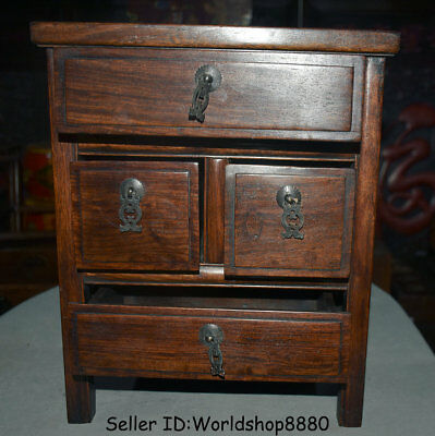 "15.6"" Antique Old China Huanghuali Wood Dynasty Palace 4 Drawer Desk Furniture 7"