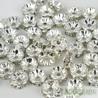 100 Czech Crystal Rhinestone Silver Rondelle Spacer Beads 4mm 5mm 6mm 8mm 10mm 3