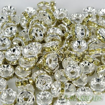 100 Czech Crystal Rhinestone Silver Rondelle Spacer Beads 4mm 5mm 6mm 8mm 10mm 11