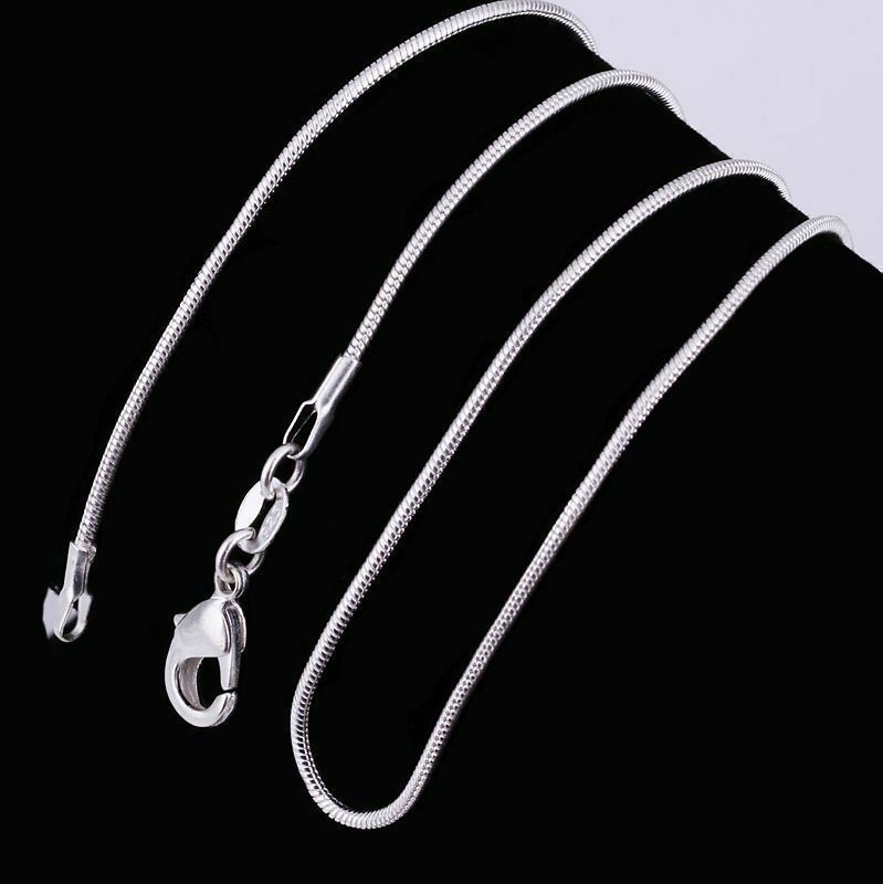 10PCS 925 Sterling Solid Silver Snake Chain Necklace For Pendant Making Jewelry 3