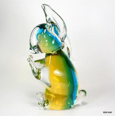 Vintage Murano Sommerso Art Glass Bunny Rabbit Figurine Sculpture 4
