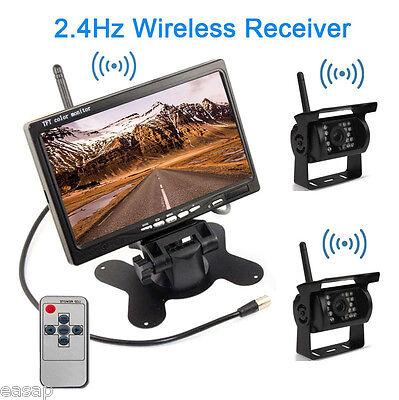 "7"" LCD Monitor+2X Wireless Rear View Reversing Camera Kits For Car/Bus/Truck/RV 2"
