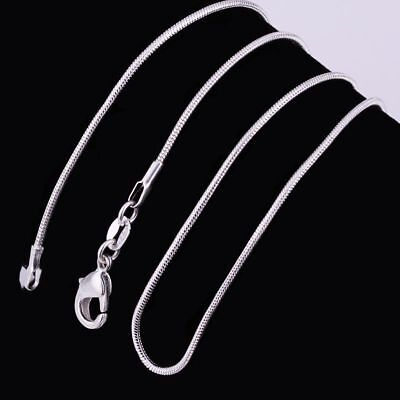 10PCS Wholesale Solid Silver 1MM Snake Chain Necklace For Pendant Women Jewelry 3