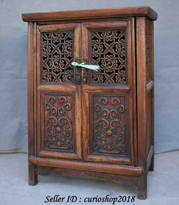 """23.2"""" Old China Huanghuali Wood Dynasty Palace Carving Dragon Cupboard Cabinet 7"""