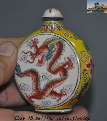 """3"""" Marked China Dynasty bronze Cloisonne animal Dragon Loong snuff bottle statue 2"""