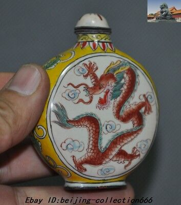 """3"""" Marked China Dynasty bronze Cloisonne animal Dragon Loong snuff bottle statue 3"""