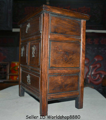 "15.6"" Antique Old China Huanghuali Wood Dynasty Palace 4 Drawer Desk Furniture 6"