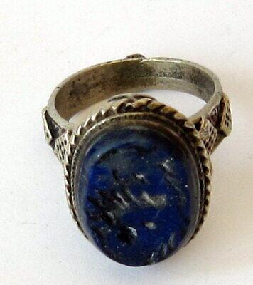 Antique Amazing Ottoman Silver Lapis Lazuli Intaglio Gem Personal Seal Ring # 31 9