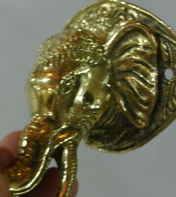 """ELEPHANT trunk up pull SOLID polished BRASS old style Handle hook 4 """" door B 10"""