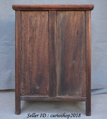 """23.2"""" Old China Huanghuali Wood Dynasty Palace Carving Dragon Cupboard Cabinet 10"""