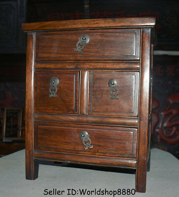 "15.6"" Antique Old China Huanghuali Wood Dynasty Palace 4 Drawer Desk Furniture 5"