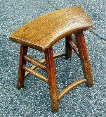 Antique Chinese Chestnut Bench Table Chair 18-19th C. Curved Seat 2