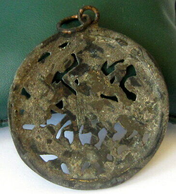 AMAZING POST MEDIEVAL 1800s. PERIOD BRONZE MEDALLION WITH St.GEORGE # 82C 4