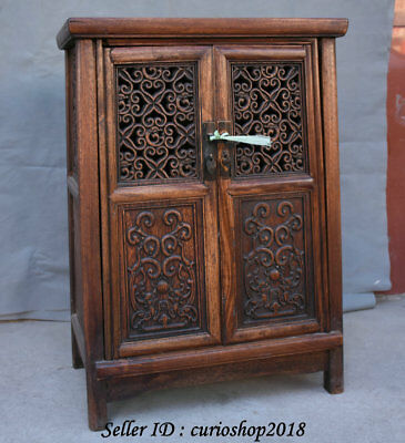 """23.2"""" Old China Huanghuali Wood Dynasty Palace Carving Dragon Cupboard Cabinet 8"""