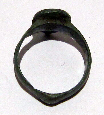 Beautiful Post-Medieval Bronze Ring With Engraving Cross On The Top # 6C 6