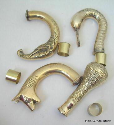 Lot of 4 Solid Brass Victorian Handle Wooden Walking Stick Cane Designer 4 pcs 2
