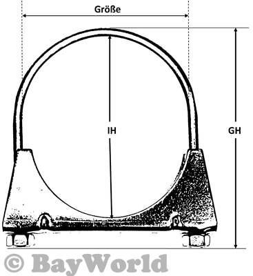 1 x BayWorld Bügelschelle M8x67 mm Auspuff Rohrschelle Flachbügel U-Bolt Clamps