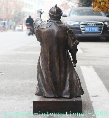 """Old Chinese Bronze copper Mongolia King Genghis Khan Jenghis Khan """"成吉思汗""""Statue 11"""